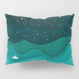 Starry Ocean, teal sailboat watercolor sea waves night Pillow Sham