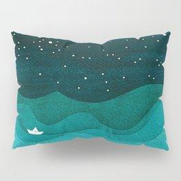 Starry Ocean, teal sailboat watercolor sea waves night Kissenbezug