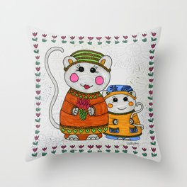 Mama & Baby Mouse Throw Pillow
