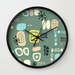 Mid Century Mod Digital Bark cloth Wall Clock