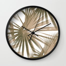 Brown on White Tropical Vibes Beach Palmtree Vector Wall Clock