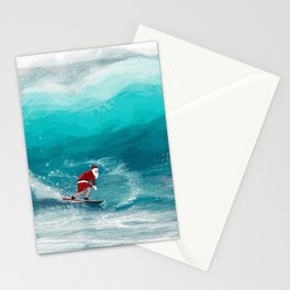 Santa Claus Surf Stationery Cards