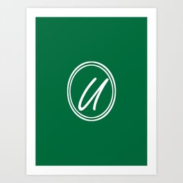 Monogram - Letter U on Cadmium Green Background Art Print