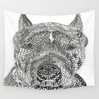 pitbull Wall Tapestries featuring  American Pitbull Terrier by DiAnne Ferrer