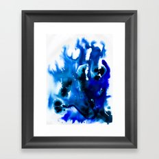 Paint 8 abstract indigo watercolor painting minimal modern canvas art affordable home decor trendy Framed Art Print