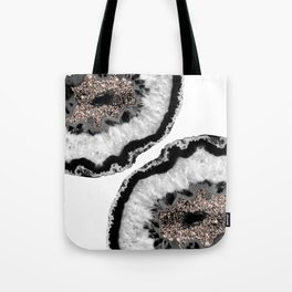 Gray Black White Agate Glitter Glamor #4 #gem #decor #art #society6 Tote Bag