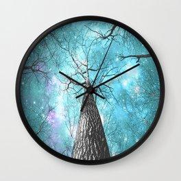 Wintry Trees Galaxy Skies Pastel Teal Aqua Blue Wall Clock
