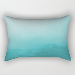 Aqua Teal Turquoise Watercolor Ombre Gradient Blend Abstract Art - Aquarium SW 6767 Rectangular Pillow
