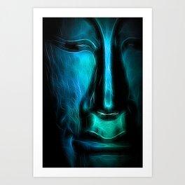 BuddhaFace cyanblue Art Print