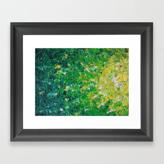 LAKE GRASS - Original Acrylic Abstract Painting Lake Seaweed Hunter Forest Kelly Green Water Lovely Framed Art Print