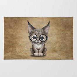 Cute Baby Lynx Cub Wearing Glasses Rug