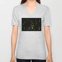 Numerous drawings of incandescent lamps type cartoons Unisex V-Neck