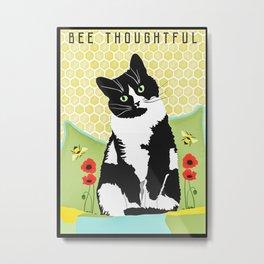 Bee Thoughtful Cat Metal Print