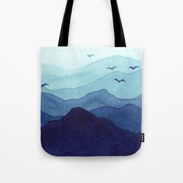 Rolling mountains fade into the mist. Watercolor. Tote Bag