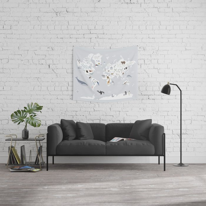 Animal Map of the world Wall Tapestry