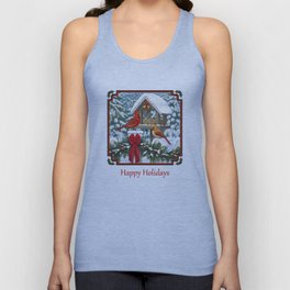 Red Cardinals and Christmas Bird Feeder Unisex Tank Top
