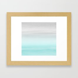 Touching Aqua Blue Gray Watercolor Abstract #1 #painting #decor #art #society6 Framed Art Print