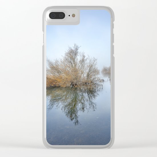 """Foggy Morning At The Lake"". Magic sunrise Clear iPhone Case"