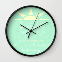 roald dahl Wall Clocks featuring Roald Dahl Quote by allisonmaedesigns