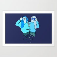 Blue Girls Art Print
