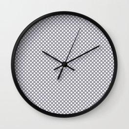 Lilac Gray and White Polka Dots Wall Clock