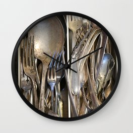 drawer full of vintage forks spoons silverware kitchen old cooking eating Wall Clock
