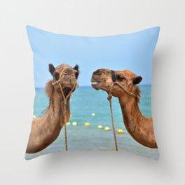Beach camels Throw Pillow