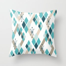 Mid Century Modern Diamonds (Teal) Throw Pillow