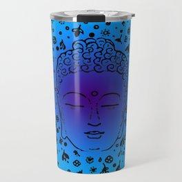 Buddha Head Blues Purples Greens Travel Mug