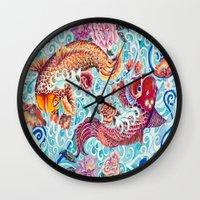 koi fish Wall Clocks featuring Koi Fish by Art by Risa Oram