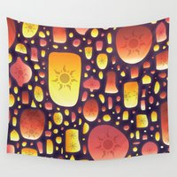lanterns Wall Tapestries featuring Tangled Lanterns Pattern by Cina Catteau