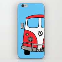 vw bus iPhone & iPod Skins featuring VW Bus Red by Cheryl Syminink