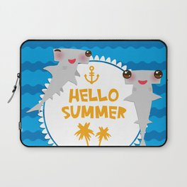 Hello Summer. Kawaii hammerhead shark Laptop Sleeve