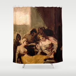 """Francisco Goya """"Saint Isabel of Portugal Healing the Wounds of a Sick Woman"""" Shower Curtain"""