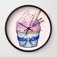 cupcake Wall Clocks featuring Cupcake by Olechka