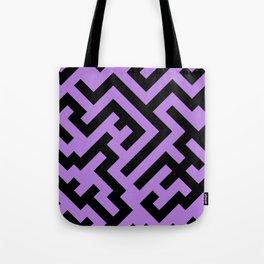 Black and Lavender Violet Diagonal Labyrinth Tote Bag