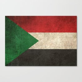 Old and Worn Distressed Vintage Flag of Sudan Canvas Print