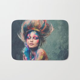 Young woman muse with creative body art and hairdo (6) Bath Mat