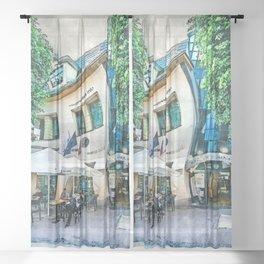 Sopot city watercolor art #sopot #watercolor Sheer Curtain