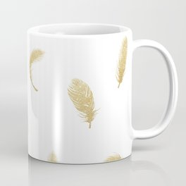 Gold Glitter Feathers Coffee Mug