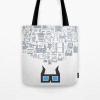 cinema Tote Bags featuring Cinema by aleksander1