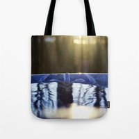 rileigh smirl Tote Bags featuring Reflection by Rileigh Smirl