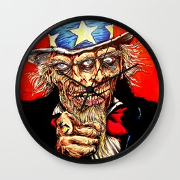 Uncle Zombie Sam Wall Clock