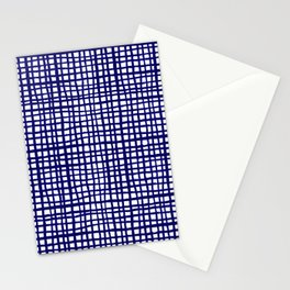 Grid indigo blue bold dramatic modern minimal abstract painting lines gridded pattern print minimal Stationery Cards
