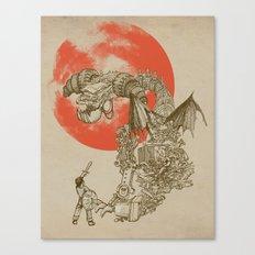 Junkyard Dragon (monochrome version) Canvas Print