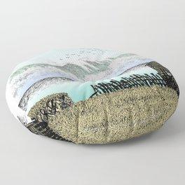 THE BIG WAVE PEN DRAWING COLOR VERSION Floor Pillow