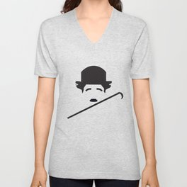 man with hat and stick charlie Chaplin Unisex V-Neck