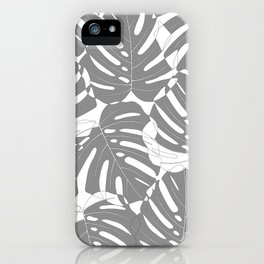 Monstera deliciosa Minimalistic black and white iPhone Case