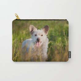 Single white stray tyke dog at the meadow Carry-All Pouch