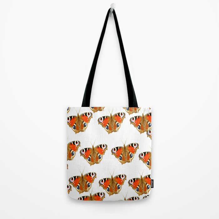 Beautiful Peacock Butterflies On A White Background #decor #society6 Tote Bag